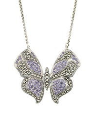 Lord And Taylor Crystal Butterfly Pendant Necklace Purple