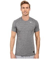 Nike Pro Cool Fitted Heather Top Black Black White Men's Clothing
