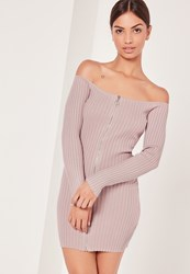 Missguided Zip Bardot Longsleeve Mini Dress Pink Mauve