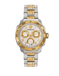 Versace Dylos 18K Yellow Gold And Stainless Steel Bracelet Watch Silver