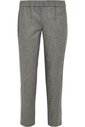 Theory Korene Brushed Flannel Tapered Pants Gray