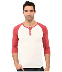 Alternative Apparel 3 4 Raglan Henley Eco Ivory Eco True Fig Men's Long Sleeve Pullover White
