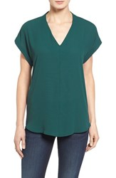 Pleione Petite Women's High Low V Neck Mixed Media Top Green Ponderosa