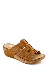 Godiva Cutout Woven Wedge Sandal Brown