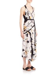 Proenza Schouler Printed Silk Asymmetrical Halter Dress White Poppy Print