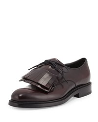 Prada Cordovan Spazzolato Leather Lace Up W Removable Fringe Burgundy