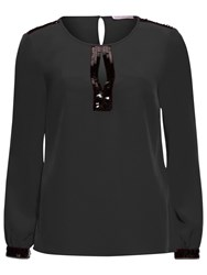 Gina Bacconi Soho Crepe Blouse With Sequin Trim Black