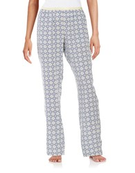 Lord And Taylor Patterned Sleep Pants Ocean Blue