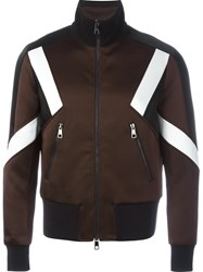 Neil Barrett Colour Block Bomber Jacket Brown