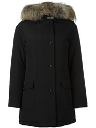 Woolrich Racoon Fur Collar Coat Black