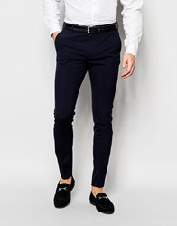 Selected Homme Super Skinny Suit Trousers With Stretch Navy Blue