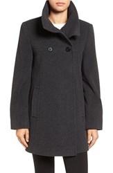 Larry Levine Women's Double Breasted Coat Charcoal