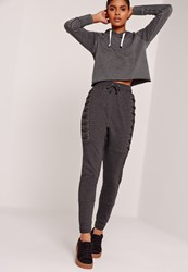 Missguided Sarah Ashcroft Lace Up Eyelet Size Joggers Charcoal Grey