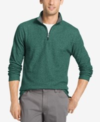 Izod Men's Textured Quarter Zip Sweater Darkest Spruce
