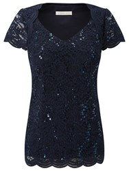 Jacques Vert Jersey Stretch Sequin Top Navy