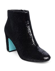 Betsey Johnson Sequined Ankle Boots Black