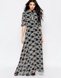 Liquorish Maxi Shirt Dress In Geo Wave Print Black White