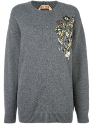 N 21 No21 Floral Embroidered Pullover Grey