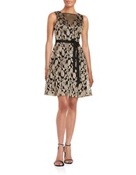 Jessica Simpson Floral Lace A Line Dress Black Gold