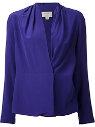 Nicole Miller Crossover Wrap Blouse Blue