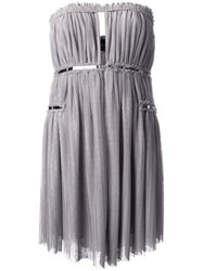 Jay Ahr Silver Tone Detail Strapless Dress Grey