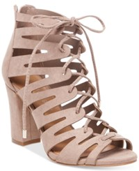 Madden Girl Banner Lace Up Sandals Women's Shoes Dark Taupe