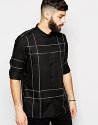 Asos Shirt With Long Sleeve And Oversized Grid Check Black
