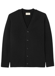 Oliver Spencer Albany Black Textured Wool Cardigan