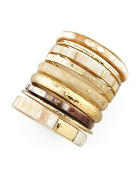 Ashley Pittman Nene Horn And Bronze Bangles Set Of 9
