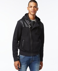 Armani Jeans Asymmetrical Mixed Media Hoodie Solid Black