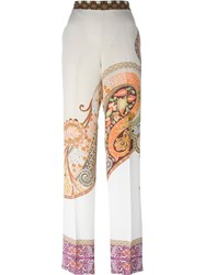 Etro Paisley Print Wide Leg Trousers Nude And Neutrals