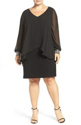 Alex Evenings Plus Size Women's Beaded V Neck Sheath Dress With Capelet Overlay Black