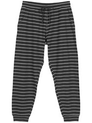 Fat Face Westbury Stripe Cuffed Pyjama Bottoms Charcoal