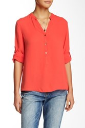 Zoa Solid Roll Up Sleeve Blouse Red