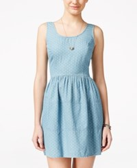 As U Wish Juniors' Chambray Polka Dot Print Fit And Flare Dress Light Denim