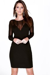 Boohoo Mesh Panelled Long Sleeve Bodycon Dress Black