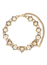 Erickson Beamon 'Bermuda Triangle' Crystal Pave Glass Pearl Necklace Metallic