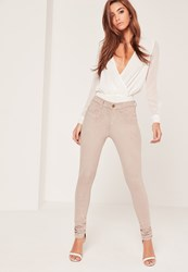 Missguided Faux Suede Skinny Trousers Nude Stone