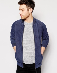Anerkjendt Zip Through Sweatshirt Bomber Blue