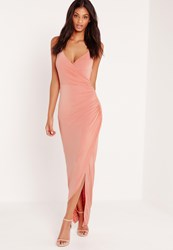 Missguided Chain Strap Ruched Back Maxi Dress Pink Salmon