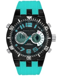 Sean John Men's Analog Digital Turquoise Silicone Strap Watch 45Mm 10025699