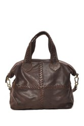 Carla Mancini Soft Square Whipstitched Leather Tote Brown
