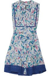 Saloni Tilly Printed Silk Crepe De Chine Mini Dress Blue