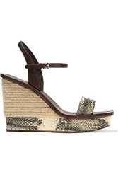 Tory Burch Malaga Snake Effect Espadrille Leather Wedge Sandals White