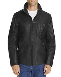 Marc New York Plymouth Stand Collar Leather Jacket Jet Black