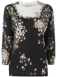 Giambattista Valli Floral Print Sweater Black