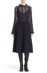 See By Chloe Women's Long Sleeve Jersey Lace Overlay Dress Navy