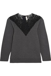 Stella Mccartney Lace Paneled Cotton Blend Jersey Sweatshirt Dark Gray