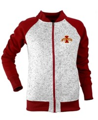 Antigua Women's Iowa State Cyclones Visitor Full Zip Jacket Gray Darkred
