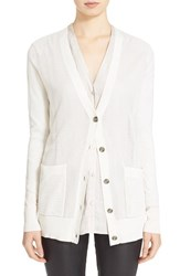 Women's Atm Anthony Thomas Melillo Pointelle Front Silk Blend Cardigan Ivory